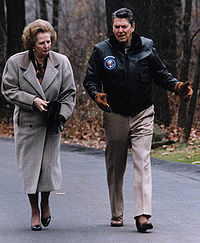 British Prime Minister Margaret Thatcher (here walking with Reagan at Camp David in 1986) granted the U.S. use of British airbases to launch the Libya attack