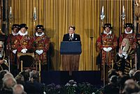 "As the first U.S. president invited to speak before the British Parliament (June 8, 1982), Reagan predicted Marxism would end up on the ""ash heap of history"""