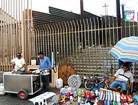 Mexico–United States barrier at the pedestrian border crossing in Tijuana