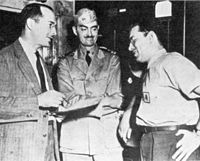 """Asimov (right) was inspired by the Future History stories of Heinlein (left), but self-consciously wrote that his was """"not the beautiful job that Heinlein did, but was actually made up 'ad hoc'""""."""