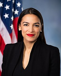 U.S. Representative Alexandria Ocasio-Cortez (NY), also known as AOC, representing parts of The Bronx and Queens, became at age 29 the youngest woman ever to be elected to Congress in November 2018.