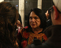 Dolores Huerta in 2009. Huerta has received numerous awards for her community service and advocacy for workers', and women's rights. She was the first Latina inducted into the National Women's Hall of Fame, in 1993.