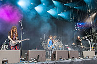 Korn performing live at the Rock 'n' Heim Rock Festival in August 2014