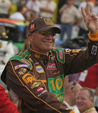1999 NASCAR Winston Cup champion Dale Jarrett waves to the fans before the 2007 Sharpie 500