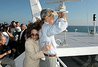 Kerry and Teresa Heinz crossing Lake Michigan on the Lake Express during the 2004 campaign
