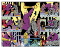 "The middle two pages of Watchmen #5, titled ""Fearful Symmetry"". The whole of the issue's layout was intended to be symmetrical, culminating in this center spread, where the pages reflect one another. Art by Dave Gibbons"