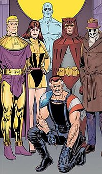 The main characters of Watchmen (from left to right): Ozymandias, the second Silk Spectre, Doctor Manhattan, The Comedian (kneeling), the second Nite Owl, and Rorschach