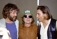 L-R: Kris Kristofferson, Willie Nelson, and Waylon Jennings at the Dripping Springs Reunion, in 1972