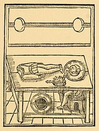 """An illustration from Reginald Scot's The Discoverie of Witchcraft (1584), one of the earliest books on magic tricks, explaining how the """"Decollation of John Baptist"""" decapitation illusion may be performed"""