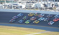 Hamlin led with 11 laps remaining in the 2015 Daytona 500.