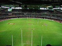 A typical AFL match at Docklands Stadium