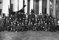 The dissolution of the Constituent Assembly on 6 January 1918. The Tauride Palace is locked and guarded by Trotsky, Sverdlov, Zinoviev and Lashevich.