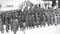 A revolutionary meeting of Russian soldiers in March 1917 in Dalkarby of Jomala, Åland