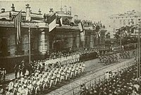 American, British, and Japanese Troops parade through Vladivostok in armed support to the White Army