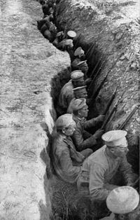 Russian troops in trenches awaiting a German attack