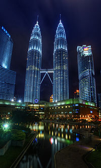 KLCC park, Petronas Twin Towers and Maxis Tower
