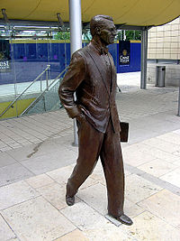 Cary Grant statue by Graham Ibbeson (2001) in Millennium Square, Bristol