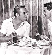 """Grant and Randolph Scott (left) in 1933 (from Modern Screen promotional feature """"The Modern Hostess"""")"""