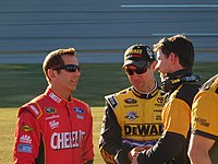 Ratcliff (right) talking to his driver Matt Kenseth as well as Greg Biffle at Talladega in October 2016