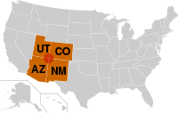 The Four Corners region is the red circle in this map. The Four Corners states are highlighted in orange.