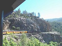 The Durango and Silverton Narrow Gauge Railroad, now a heritage railway, formerly connected the Four Corners area to the national rail network.