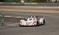 An older LMP2 class competitor, the Greaves Motorsport Zytek Z11SN-Nissan at the 2011 24 Hours of Le Mans