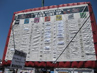 The performance schedule for the August 10, 2010 stop in Chula Vista, California, giving stages and set times for each act. Set times are determined on the day of the show and are posted for attendees on a large inflatable board.