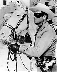 """The Lone Ranger; a famous heroic lawman who was with a cavalry of six Texas Rangers until they were all killed but him. He preferred to remain anonymous, so he resigned and built a sixth grave that supposedly held his body. He fights on as a lawman, wearing a mask, for, """"Outlaws live in a world of fear. Fear of the mysterious."""""""
