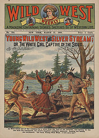 """""""As Wild felled one of the redskins by a blow from the butt of his revolver, and sprang for the one with the tomahawk, the chief's daughter suddenly appeared. Raising her hands, she exclaimed, 'Go back, Young Wild West. I will save her!'"""" (1908)"""