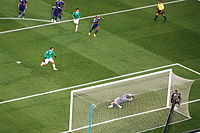 Cuauhtémoc Blanco converting his penalty kick against France at the 2010 FIFA World Cup.
