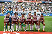 Mexico lining up prior to the group stage match against South Korea at the 2018 FIFA World Cup.