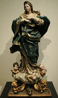 The belief is solemnly celebrated in many countries and has inspired much sacred artwork. The Immaculate Conception, by Pedro de Sierra, (circa 1735) Valladolid, Spain.