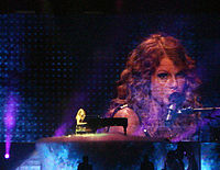 """Swift performing """"You're Not Sorry"""" on the Fearless Tour."""