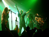 Eluveitie are seen here performing at the 2007 Cernunnos Fest in Paris, France, with a mandola, tin whistle and violin.