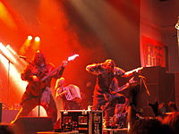 Turisas, seen here performing in 2008, have tackled such issues as the glorification of war through the use of fantasy themed lyrics.