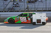 Keselowski's No. 88 GoDaddy.com-sponsored Chevrolet on pit road before the NorthernTool.com 250 at the Milwaukee Mile.