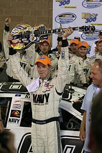 Keselowski in victory lane following his first career Nationwide Series victory at Nashville Superspeedway.