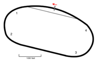 Layout of Michigan International Speedway, the track where the race is held.