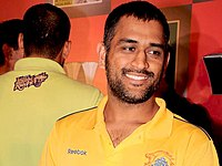 MS Dhoni in Chennai Super Kings colors in 2011.