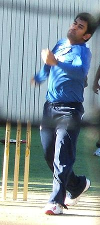 Dhoni bowling in the nets. He rarely bowls at international level.