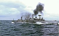 British and Icelandic vessels collide in the Atlantic Ocean during the Cod Wars (Icelandic vessel is shown on the left; the British vessel is on the right)