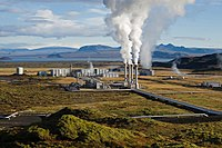 The Nesjavellir Geothermal Power Station services the Capital Region's hot water and electricity needs. Virtually all of Iceland's electricity comes from renewable resources.