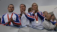 The Iceland men's national handball team (pictured) won the silver medal at the 2008 Summer Olympics. Handball is considered Iceland's national sport.