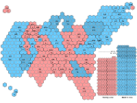Hexagonal cartogram of the number of electoral college votes, with flipped states hatched