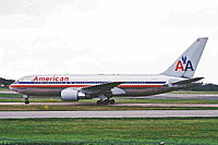N334AA, the aircraft involved, taxiing at Manchester Airport on April 8, 2001, five months before the attacks.