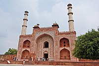 Akbar's Tomb at Agra, India uses red sandstone and white marble, like many of the Mughal monuments. The Taj Mahal is a notable exception, as it uses only marble.