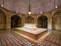 Jahangir's grave at the Tomb of Jahangir, decorated with parchin kari work.
