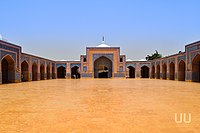 Shah Jahan Mosque in Thatta, Pakistan. The mosque is not built in the Mughal style, but reflects a heavy Persian influence.