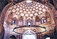 The central chamber of the Shahi Hammam is decorated with frescoes