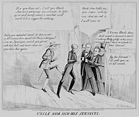 An anti-Tyler satire lampoons his efforts to secure a second term. Tyler pushes the door shut on opponents Clay, Polk, Calhoun, and Jackson, as Uncle Sam demands that he let Clay in.